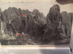 The icefall up Torre Vitty, Sella, Dolomites.The route takes a line to the left of the 1969 route established by via aperta nel 1969 Claudio Barbier and Heinz Steinkötter,