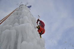 The artificial ice climbing tower at Rabenstein / Corvara in the Dolomites