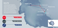 The map of the Spectre expedition in Antarctica by Leo Houlding, Jean Burgun, Mark Sedon