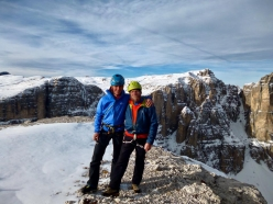 Simon Gietl and Andrea Oberbacher climbing the couloir in Val de Mesdì, Sella, Dolomites, December 2016