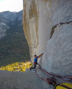 Rolando Larcher climbing the final pitches of Astroman in Yosemite Valley: