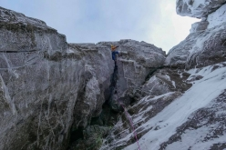 Greg Boswell and Guy Robertson making the first ascent of The Holy Grail IX/10 up Buachaille in Scotland
