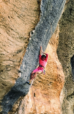 22-year-old Andrea Gallo making the first ascent of Hyaena at the crag Monte Sordo, Finale Ligure, in 1986
