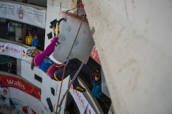 During the first stage of the Ice Climbing World Cup 2018 at Saas Fee in Switzerland