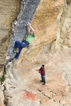 Jakob Schubert belayed by Andrea Gallo climbs Hyaena at the crag Monte Sordo at Finale Ligure, December 2013