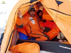 Ali Sadpara and Alex Txikon in their tent while climbing Pumori