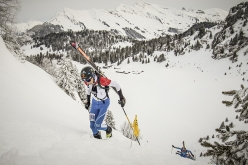 Xavier Gachet competing in the second stage of the ski mountaineering World Cup 2018 at Villars-sur-Ollon in Switerland