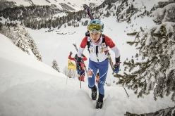 Laetitia Roux competing in the second stage of the ski mountaineering World Cup 2018 at Villars-sur-Ollon in Switerland