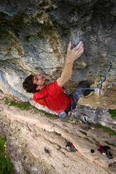 Silvio Reffo climbing at the Covolo, Italy