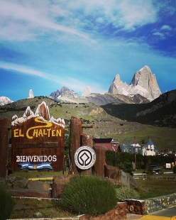 El Chalten in Patagonia, with view onto Cerro Torre and Fitz Roy