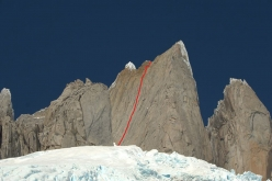 The line of Maracaibo (300 m, 7a/C1, Matteo Della Bordella, Luca Schiera 25/01/2018) up Cerro Pollone in Patagonia