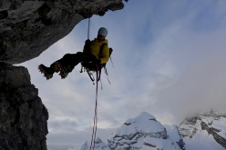 Ines Papert abseiling off the 4th Child (Jungfrau) during the Watzmann Familie Traverse