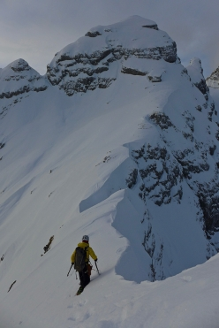 Ines Papert breaking trail towards 1st child on the Watzmann Family traverse
