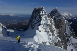 Ines Papert close to summit of the 5th Child on the Watzmann Family traverse