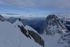Ines Papert on summit ridge of the 4th Child, during the winter ascent of the Watzmann Family traverse