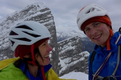 Ines Papert and Luka Lindić on the Watzmann Family traverse, happy after having climbed the 5th child