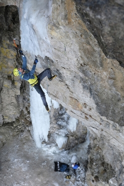 Florian Riegler climbing Sick and Tired at the Grotta Gampenpass, the cave at Passo Palade
