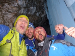 Beppe Ballico, Andrea Gamberini and Samuel Scotton during their ascent of Diretta Canadese, Val Travenanzes, Dolomites