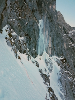 'Steep, wild and beautiful.' Guido Unterwurzacher ascends towards the ice on Direkte Große Trichter, Hoher Göll West Face