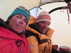 Tamara Lunger and Simone Moro make the first winter ascent of Pik Pobeda, in Siberia. In this 2017 photo the two alpinists are at Camp 3 of Kangchenjunga