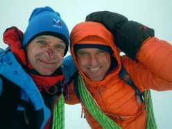 Míra Dub and Mára Holeček on the summit of Monte Pizduch in Antarctica