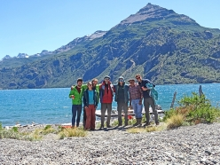 Torres Del Avellano, Patagonia, Chile: the entire team comprised of Paul Swail, Ruth Bevan, John Crook, Pascual the boat man, John McCune, Luis the Gaucho and Will Sim.