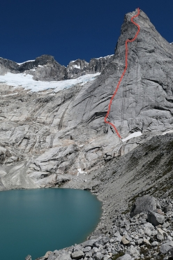 The impressive East Face of the South Avellano Tower, Torres Del Avellano, Patagonia, Chile and the line climbed by John McCune, John Crook,  Will Sim and Paul Swail in January 2018