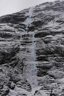 The icefall Fosslimonster at Gudvangen in Norway, established in 2009 by Robert Jasper and Roger Schäli after a first attempt by Jasper and Markus Stofer