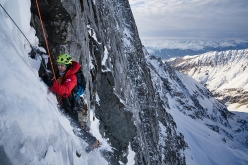 Peter Mühlburger making the first ascent of Sagzahn - Verschneidung up Sagwand, Valsertal, Austria