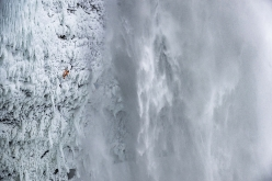 Dani Arnold making the first ascent of his Power Shrimps at Helmcken Falls, Canada