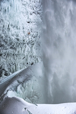 Dani Arnold making the first ascent of Power Shrimps at Helmcken Falls, Canada