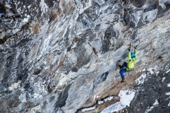Vittorio Messini making the first free ascent of MFG at Rein in Taufers