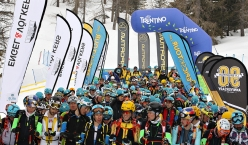 The start of the second stage of the La Sportiva Epic Ski Tour 2018 at Passo San Pellegrino