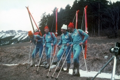 Der Lange Weg 1971: the Austrian ski mountaineers Robert Kittl, Klaus Hoi, Hansjörg Farbmacher and Hans Mariacher during the traverse of the Alps from Vienna to Nice