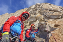 Outstanding rock: during the first ascent of  Corrasion (600 m, TD, 5c, 40° snow, Arnaud Bayol, Didier Jourdain, Dimitry Munoz 12/01/2018) up Mount Turcotte (1950 m) Pirrit Hills, Antarctica