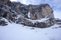 Daniel Ladurner bolting the direct start to Jumbo Jet in Val Lietres, Dolomites