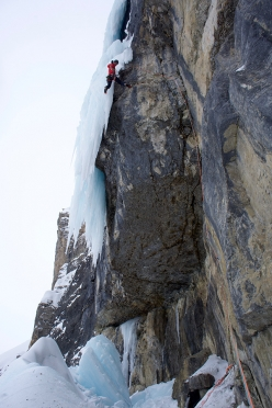 Daniel Ladurner reaches the ice after having bolted a direct start to Jumbo Jet in Val Lietres, Dolomites
