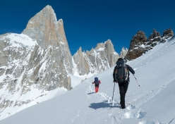 Aguja Val Biois, Patagonia: on the approach to our advanced base camp, a snow cave at Paso Superior. In the background from the left: Fitz Roy with Goretta Pillar, Ag. Val Biois, Ag. Mermoz and Ag. Guillaumet