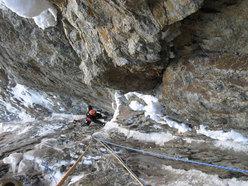 Nella Goulotte del Gran Camino di Plein Sud (parete Sud Grandes Jorasses)