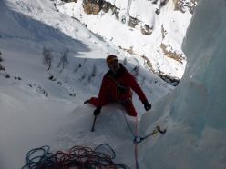 Principessa sospesa in Val Travenanzes: Andrea Gamberin at the end of pitch 2