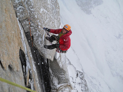 Mark Thomas in a storm on Arctic Monkeys VI A4 V+ 1400m, Sail Peaks, Baffin Island