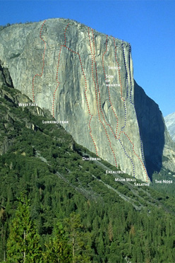El Capitan with the routes West Face, Lurking Fear, Dihedral Wall, Excalibur, Muir Wall, Son of Heart, The Shield, The Salathé Wall, The Nose