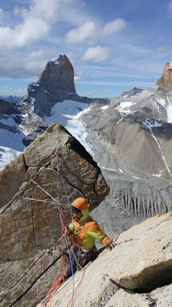 Sean Villanueva O'Driscoll and Siebe Vanhee on the exposed summit after having made the first ascent of El Matédor, Aguja Desconocida, Patagonia