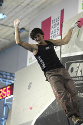 Kilian Fischhuber, winner in Hall during the 3rd astage of the Bouldering  World Cup 2007.