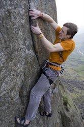 James Pearson climbing Trauma E9 7a, Dinas Mot, Wales