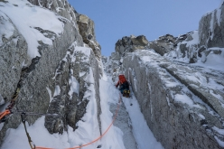 Mt. Jezebel East Face, Alaska: Uisdean Hawthorn climbing the second pitch of Fun and Fear