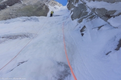 Mt. Jezebel East Face, Alaska: Tom Livingstone climbing the sixth pitch of Fun and Fear