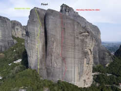 Rock climbing at Meteora in Greece: Pixari and the climbs Heureka (160m, 8+) and Marvelous Marbles (165m, 9+).
