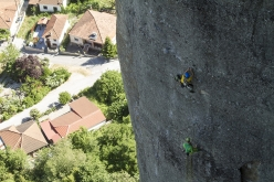 Rock climbing at Meteora in Greece: making the first free ascent of Heureka (160m, 8+)