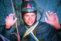 After the 20m fall on Cerro Torre, 2002